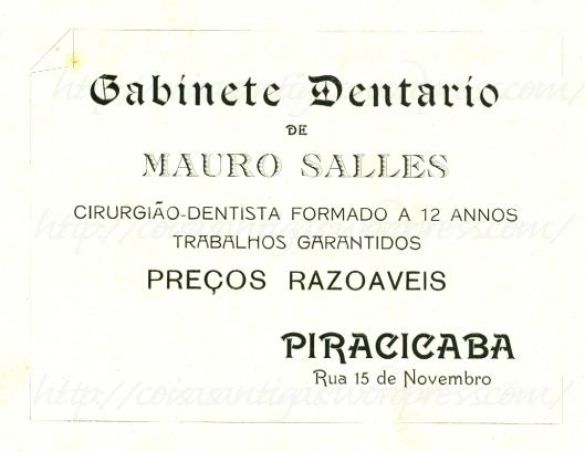 dentista em Piracicaba, ano de 1914
